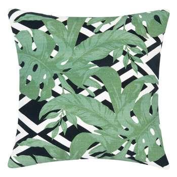 PLUMERIA - Cushion with Black and Green Print (H45 x W45cm)