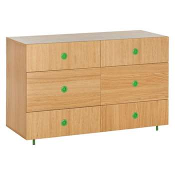 Pod Kids' oak 6 drawer wide chest, Oak and green (Width 120cm)
