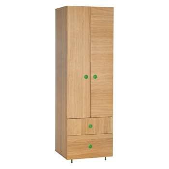 Pod Kids' oak double wardrobe with drawers, Oak and green (Width 60cm)