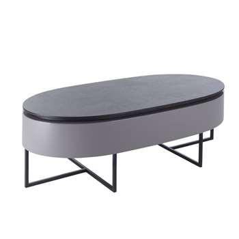 Pod lift up coffee table stone gloss and darkwood (35 x 116cm)