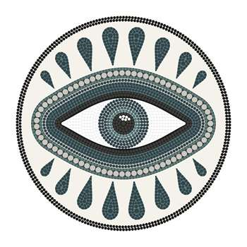 PODEVACHE - An Eye for An Eye Round Vinyl Floor Mat - White (Diameter 99cm)