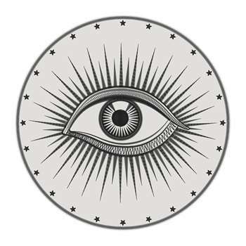 PODEVACHE - Black Bombay Round Vinyl Floor Mat (Diameter 99cm)