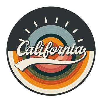 PODEVACHE - California Round Vinyl Floor Mat - Orange (Diameter 99cm)