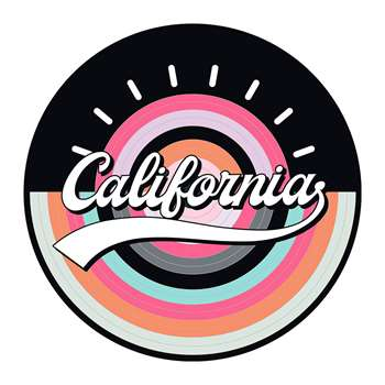 PODEVACHE - California Round Vinyl Floor Mat - Pink (Diameter 99cm)