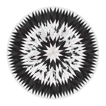 PODEVACHE - Rodeo Star Round Vinyl Floor Mat - Black (Diameter 99cm)