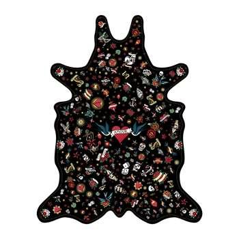 PODEVACHE - Tattoo Amore Vinyl Floor Mat - Black - Large (H159 x W126cm)
