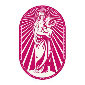 PODEVACHE - Woman and Baby Statue Rectangle Vinyl Floor Mat - Pink (H150 x W99cm)