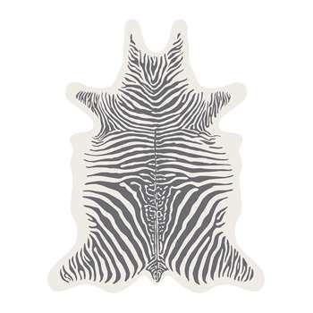 PODEVACHE - Zebra Collection Vinyl Floor Mat - White/Grey - Medium (H113 x W90cm)