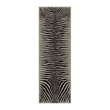 PODEVACHE - Zebra Rectangular Vinyl Floor Mat - Beige - 66x198cm (H198 x W66cm)