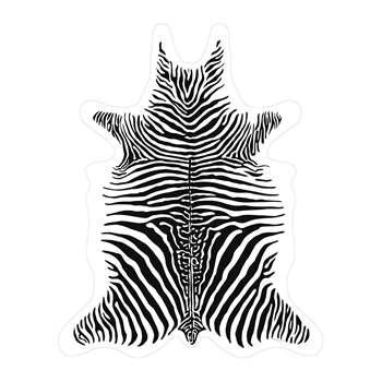 PODEVACHE - Zebra Vinyl Floor Mat - White - Medium (H113 x W90cm)