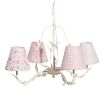 POÉSIE fabric and metal 4 branch chandelier in pink D 52cm