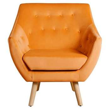 Poet Armchair, Luxor Orange Single Tone (88 x 82cm)