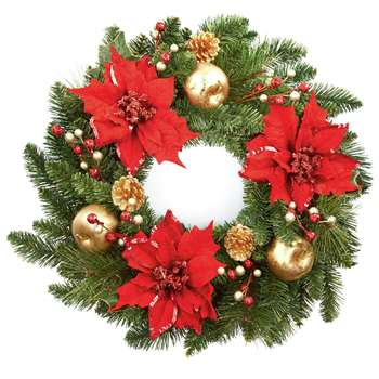 Poinsetta Wreath - Red and Gold (60 x 60cm)
