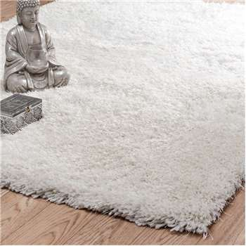 POLAIRE fabric long pile rug in ecru 140 x 200cm