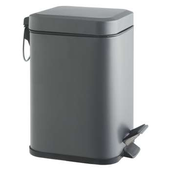 Poli Grey stainless steel bathroom bin