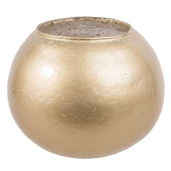 POLISH Antique-Effect Gold Glass Bowl Vase (9 x 11cm)