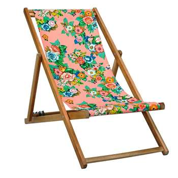 Polka Deck Chair in Coral