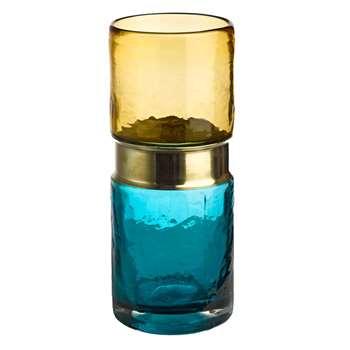 Pols Potten - Belt Vase - Aqua/Brass (H26 x W11 x D11cm)