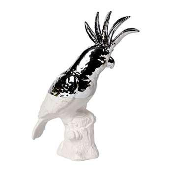 Pols Potten - Cockatoo Statue - White/Silver (32 x 12cm)