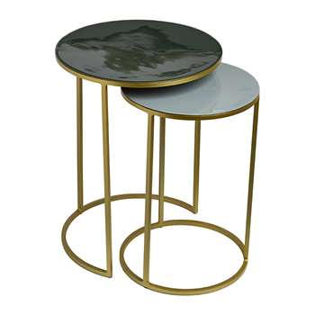 Pols Potten - Enamel Side Table - Set of 2 - Green/Grey (H54 x W40 x D40cm)
