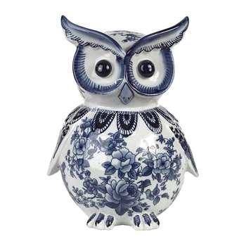 Pols Potten - Porcelain Piggy Bank - Blue/White - Owl (H25.5 x W18.5 x D15.5cm)