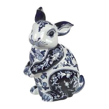 Pols Potten - Porcelain Piggy Bank - Blue/White - Rabbit (H24.5 x W18 x D14cm)