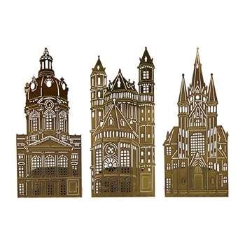 Pols Potten - Waxinelight Tealight Holder - Set of 3 - Churches (H14 x W6cm)