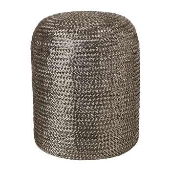 Pols Potten - Woven Pill Stool - Silver (H47 x W37 x D37cm)