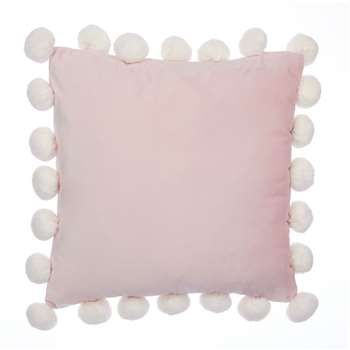 Pom Pom Velvet Blush Cushion (H45 x W45cm)