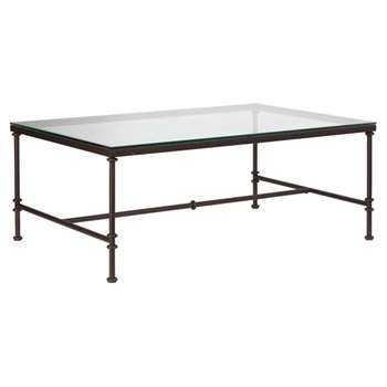 Pompidou Metal and Glass Coffee Table, Small - Glass (45 x 120cm)