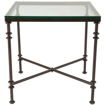 Pompidou Metal and Glass Side Table, Large - Metal (60 x 60cm)