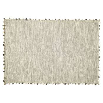 POMPON cotton rug in ecru (H120 x W180cm)