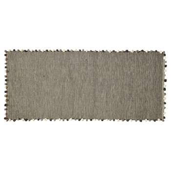 POMPON cotton rug in grey (80 x 200cm)