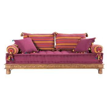 PONDICHÉRY 2/3 seater cotton Indian day bed, multicoloured (45 x 195cm)