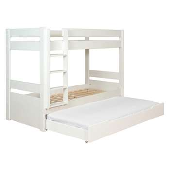 Pongo Kids' white EU single 3 sleeper bunk bed with guest mattress 90cm