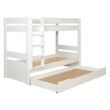 Pongo Kids' white EU single detachable bunk bed with storage drawer 90cm
