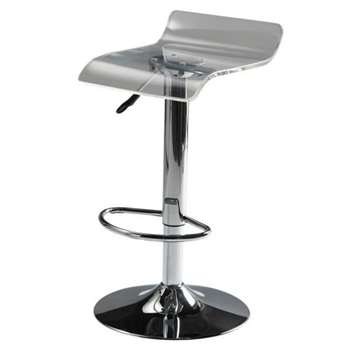 POP ART Chrome finish metal and acrylic plastic bar stool (65 x 39cm)