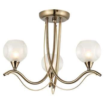 Poppy 3 Light Pendant Ceiling Light Antique Brass (H31 x W39 x D39cm)