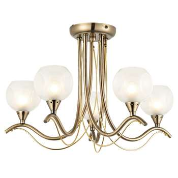 Poppy 5 Light Pendant Ceiling Light Antique Brass (H31 x W50 x D50cm)