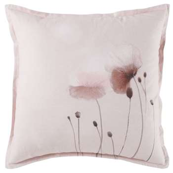 POPPY - Pink Cotton Cushion with Floral Print (H45 x W45 x D10cm)