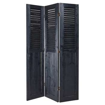 PORQUEROLLES Black Fir Screen (H190 x W121.5 x D3cm)