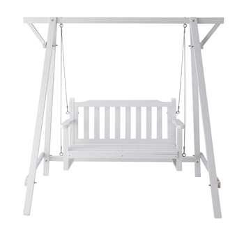 PORT BLANC Wooden garden swing seat in white (173 x 184cm)