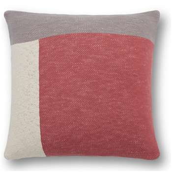 Portia Knitted Cotton Cushion, Dark Blush (H45 x W45cm)