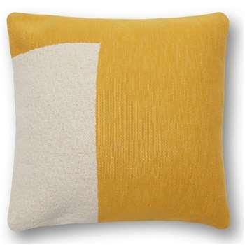 Portia Knitted Cotton Cushion, Mustard (H45 x W45cm)