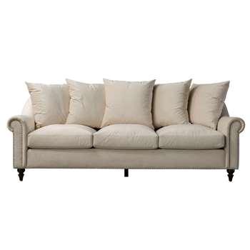 Portman Three Seat Sofa - Ivory (H85 x W219 x D101cm)