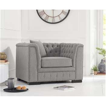 Porto Grey Linen Armchair (H75 x W112 x D87cm)