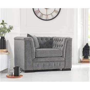 Porto Grey Velvet Armchair (H75 x W112 x D87cm)
