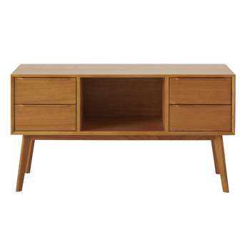 Portobello - Solid Oak 4-Drawer Vintage Sideboard (H65 x W120 x D40cm)