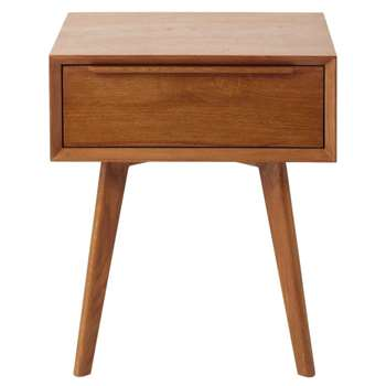 PORTOBELLO - Solid Oak Vintage 1-Drawer Bedside Table (H52 x W45 x D35cm)
