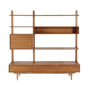 PORTOBELLO Solid oak vintage TV shelf unit W 180cm